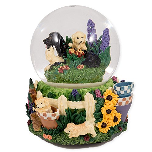Labrador Puppies Playing in Flowers Glass Musical Snow Globe Plays Song That's What Friends Are For