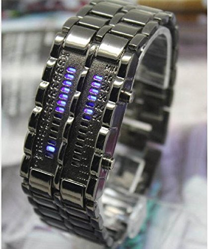 Fashion Lava Led Display Watch Iron Samurai Stainless Steel Watch Cool Men'S Sports Bracelet Watches