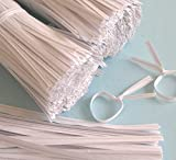 "2000pcs 4"" Paper WHITE Twist Ties"