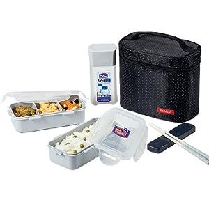 Lock & Lock Lunch Box Set für 3 Personen mit Beutel, Löffel und Gabel-Set HPL758DB schwarz