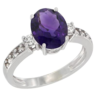 Revoni 14ct White Gold Natural Amethyst Ring Oval 9x7 mm Diamond Accent