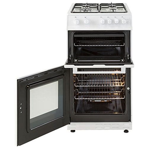 New World Ltd 50GTCW 500mm Twin Cavity Gas Cooker 4 x Burner Gas Hob White