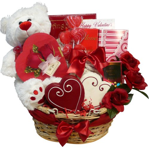 Valentines gift baskets for her seasonal holiday guide of appreciation gift baskets valentines treasures gift basket with teddy bear negle Image collections