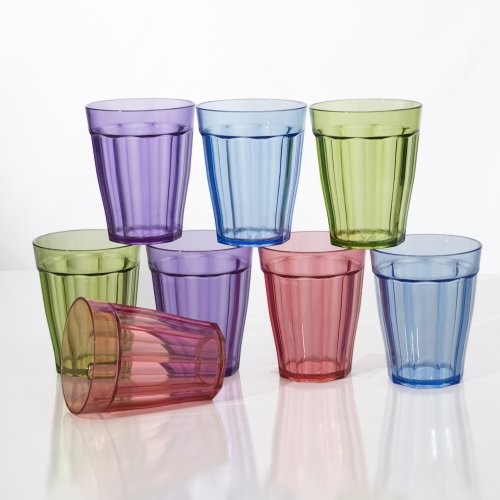 8Pc Rhapsody 12-Ounce Unbreakable Plastic Water Cup Tumblers In 4 Assorted Colors