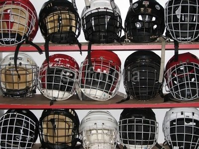 """Wallmonkeys Peel and Stick Wall Decals - Hockey Helmets - 24""""W x 18""""H Removable Graphic"""