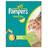 Pampers Nappies Baby Dry Size 6+ (Extra Large +) 17+kg/37+lbs 21 Nappies