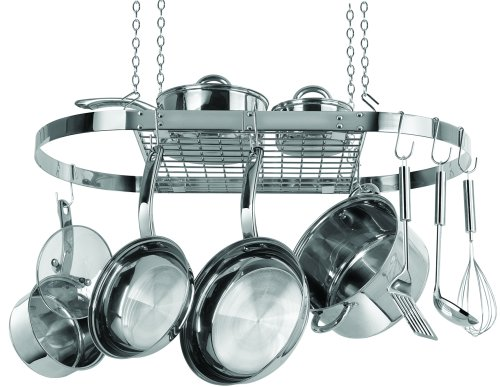 kitchen stainless steel hanging pot rack hanger organizer holder pan storage new ebay. Black Bedroom Furniture Sets. Home Design Ideas