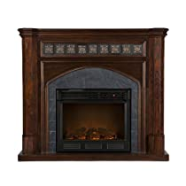Big Sale Southern Enterprises Lake Austin Espresso Electric Fireplace