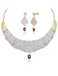 "Peora 18 Karat Gold Plated Red Cubic Zirconia ""Avalika"" Necklace Earrings Set (PN315GJ)"