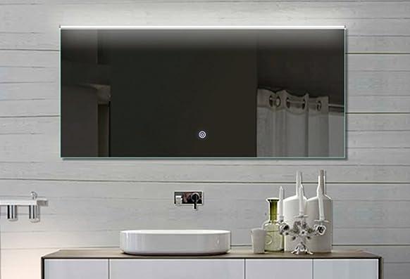 Mila Specchio da bagno con illuminazione a LED in alluminio cornice Touch Interruttore Luce Colore a scelta 152x 70cm