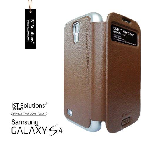 2点セット GALAXY S4 IST DIRECT S VIEW ダイアリー デザイン フリップ カバー ケース カード 収納機能 ( Suica Pasmo Edy ) ワンセグ対応 ワンセグアンテナ対応 ( docomo Galaxy S4 SC-04E / Samsung Galaxy S IV 2013年モデル 対応 ) Standing View Cover for Galaxy S4 i9500 ビュー ケース NTT ドコモ ギャラクシー エスフォー ケース  ドコモ カバー 衝撃保護 ジャケット Flip Cover Case + 液晶保護フィルム1枚 (プレゼント)  Stylish Brown ( 茶 茶色 ブラウン )  1306144