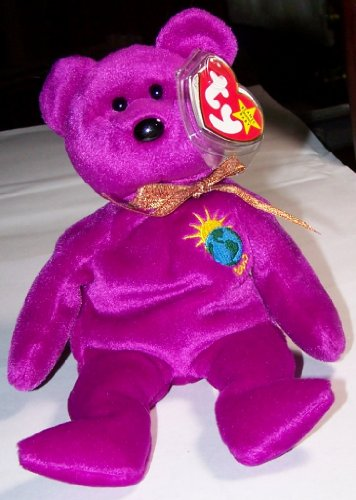 MILLENNIUM the 2000 Magenta Teddy Bear - MWMT Ty Beanie Babies nn/nn Version - 1