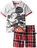 Disney Baby Boys' 2 Piece Mickey Polo and Plaid Short Set