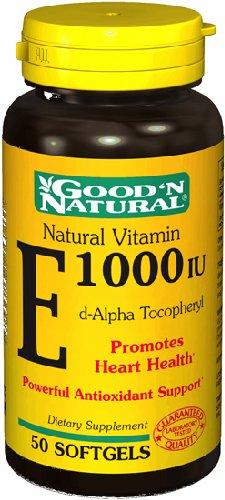 E 1000Iu - D Alpha Tocopheryl Acetate, 50 Softgels,(Good'N Natural)
