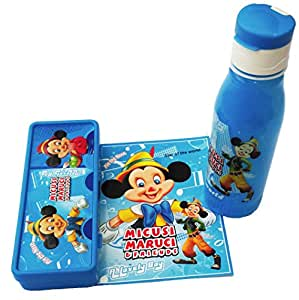 Pawan Plastic Disney Printed Combo Gift Set of Pencil Box and Water Bottle for Kids Blue