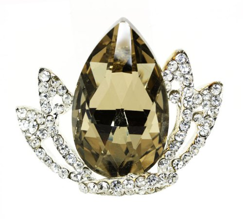 Multifaceted Triangle -Cut Teardrop Royal Crown Austrian Crystal Brooch