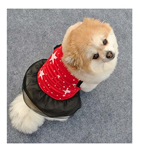 Spring Summer Small Puppy Cat Dog Stars Print Vest Dress Cotton Cozy Clothes XS/S/M/L (M) (Costume Shops In Colorado Springs)