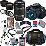 Canon EOS Rebel T4i 18.0 MP CMOS Digital SLR Camera with EF-S 18-55mm f/3.5-5.6 IS II Zoom Lens &amp; EF-S 55-250mm f/4.0-5.6 IS Telephoto Zoom Lens + Telephoto &amp; Wide Angle Lenses + 12pc Bundle 32GB Deluxe Accessory Kit