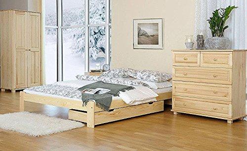 Bettgestell / Gästebett Kiefer Vollholz massiv natur A10, inkl. Lattenrost - Abmessung 140 x 200 cm