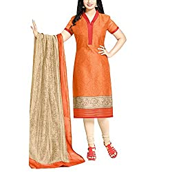 Applecreation Orange Printed Dress Material With Dupatta for Women's