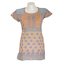 Chikanbarn Women Cotton Chikan Blue Round Neck Top (Size - XL)