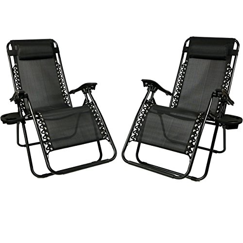 Sunnydaze Black Zero Gravity Lounge Chair with Pillow and Cup Holder, Set of Two