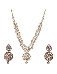 I Jewels Traditional Gold Plated Stone Necklace Set With Maang Tikka For Women (White) (Ij202W)