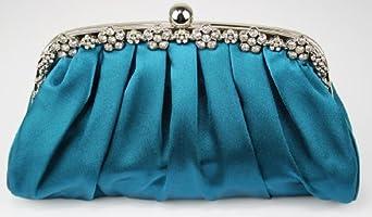 Womens Satin Teal Blue Fashion Evening Clutch Bag