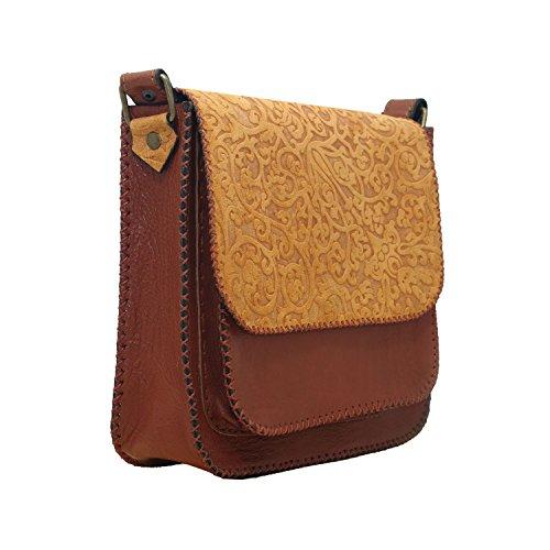Koson da donna, in vera pelle italiana, realizzata a mano, motivo: mucca con borsetta, borsa a tracolla