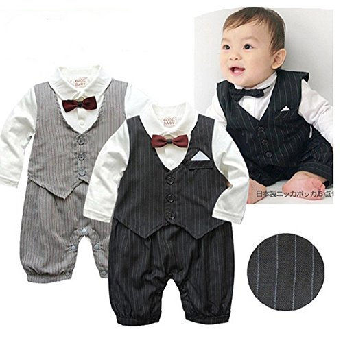Baby Boy Wedding Long Sleeve Tuxedo Striped Romper Onesie Outfit