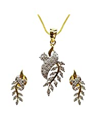 Sheetal Jewellery Silver & Golden Brass & Alloy Pendant Set For Women - B00TIGZRLE