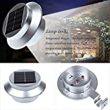 DBPOWER Silver 3 LED Solar Powered Outdoor Gutter / Fence / Wall Light -Cool White Light