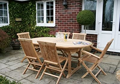Solid Wooden Teak 7 Piece Garden Patio Furniture Set - Oval Extendable Table & 6 Chairs
