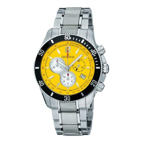 Grovana 1615,9136 - Reloj cronógrafo de cuarzo para hombre, correa de acero inoxidable color plateado (cronómetro, agujas luminiscentes)