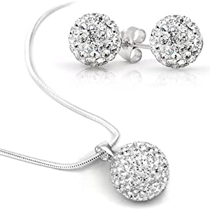 Swarovski Element Set Necklace Stud Earrings Stainless Steel, 8mm Earrings Crystal Clear Ball, 10mm Swarovski Element Clear Ball Necklace