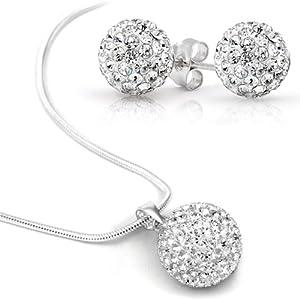 Swarovski Element Set Necklace Stud Earrings Stainless Steel, 8mm Earrings Crystal Clear Ball, 10mm Swarovski Element Clear Ball Necklace