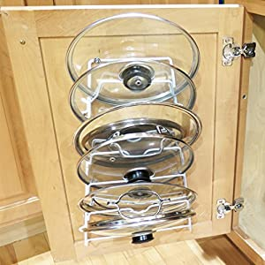 Evelots Cabinet Door Lid Rack Organizer Storage Shelf, Holds 6 Pan Covers