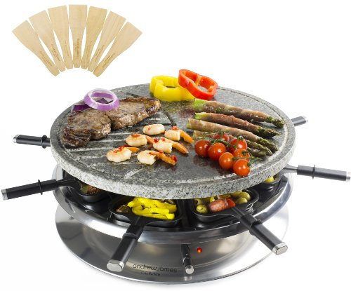 Andrew James Luxury Rustic Stone Raclette Grill with Thermostatic Heat Control - Includes Eight Raclette Spatulas - Large 37cm Diameter Cooking Surface - Patented Oil Drainage System