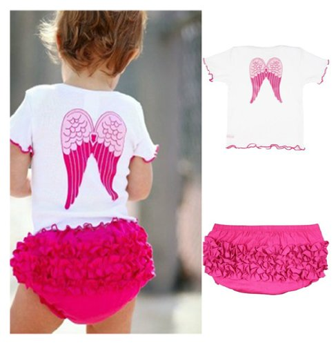 StylesILove 3-24M Baby Girls So Blessed Angel Wings Tee and Ruffle Bloomers 2-pc Set