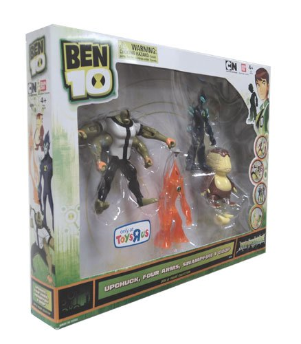 51jU0yXgkFL Buy  Ben 10 Exclusive 4 Inch Action Figure HAYWIRE 4Pack Upchuck, Four Arms, Swampfire Goop