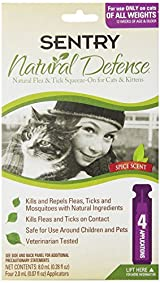Sentry NATURAL DEFENCE Against Flea Tick Squeeze On Cats Kittens Natural