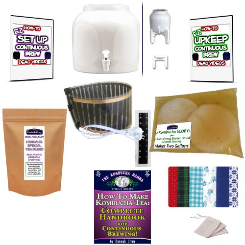 Kkamp Continuous Brew Kombucha No-Frills Package - White W/ Stand + Year Round Heater