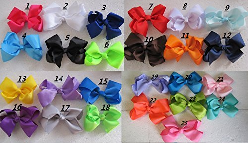 "Pic 15 Pcs 4.5"" Girls Toddler Kids Hair Bow Big Boutique Hair Bow 25 Colors"