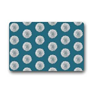 Blue white dandelion art pattern doormats for Door mats amazon