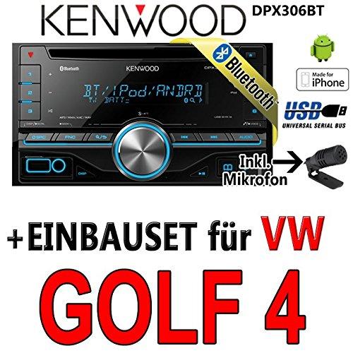 Kenwood-vW golf 4 dPX306BT 2-dIN bluetooth uSB avec kit de montage