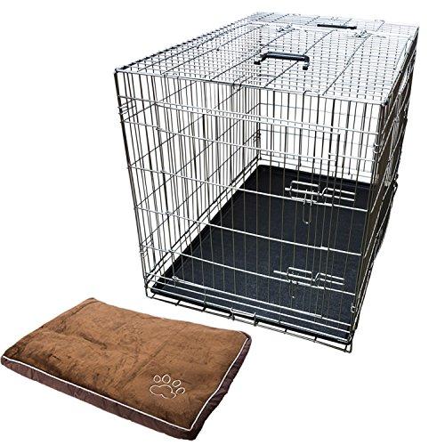 Nemaxx Transportbox Transportkäfig Drahtkäfig Klappbar Hundebox Hundekäfig Käfig Größe XXL in Silber + Kissen