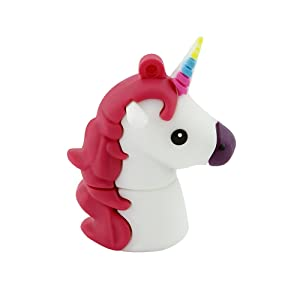 CHUYI Novelty Unicorn Shape Design 32GB USB 2.0 Flash Drive Cute Memory Stick Horse Thumb Drive Data Storage Pendrive Cartoon Jump Drive Gift (White)