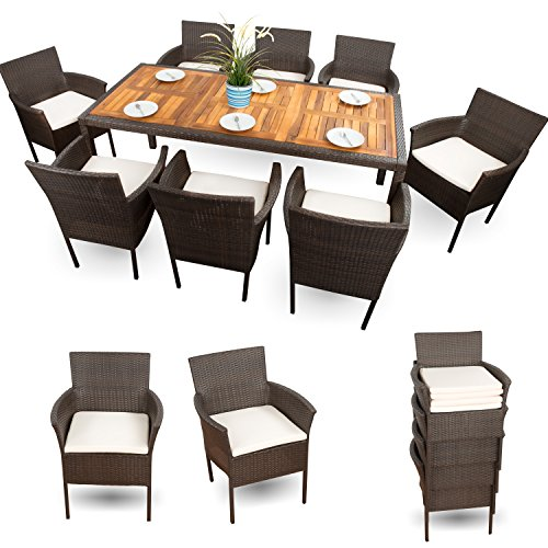 gartenm bel set rattan sitzgruppe f r 8 personen guenstig xxxl polyrattan garnitur 8 1 braun 18 tlg. Black Bedroom Furniture Sets. Home Design Ideas