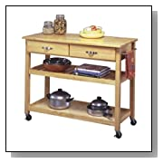 Wood Utility Rolling Kitchen Cart