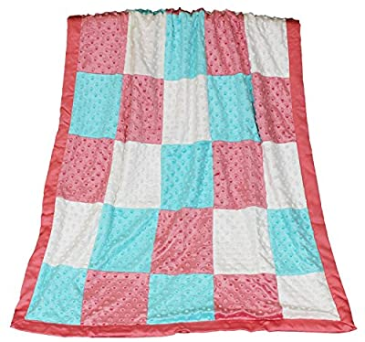 Mila Coral, Aqua and White Patchwork Minky Dot Blanket by Peanut Shell